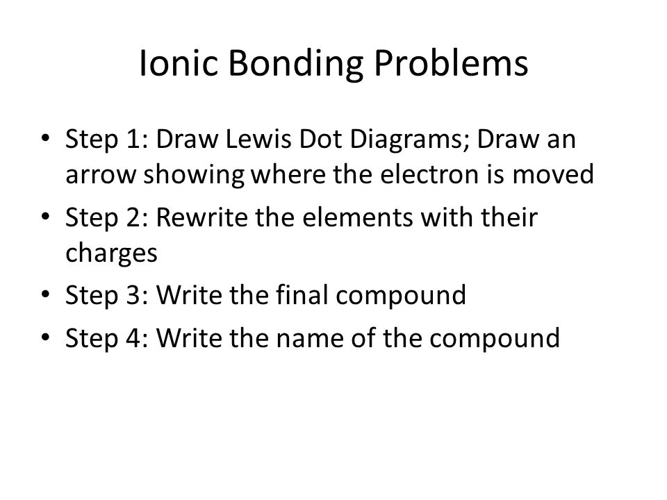 Ionic Bonding Problems Step 1: Draw Lewis Dot Diagrams; Draw an arrow showing where the electron is moved Step 2: Rewrite the elements with their charges Step 3: Write the final compound Step 4: Write the name of the compound