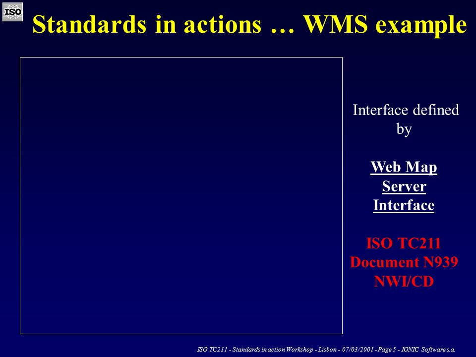 ISO TC211 - Standards in action Workshop - Lisbon - 07/03/2001 - Page 5 - IONIC Software s.a.