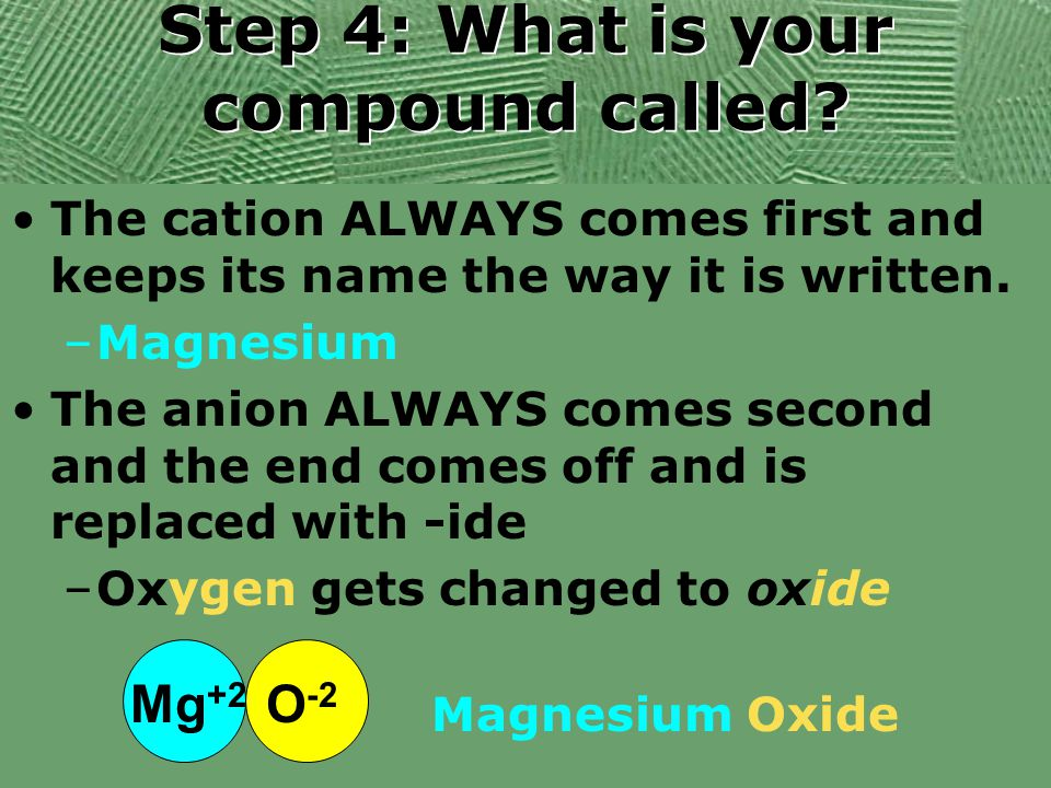 Step 4: What is your compound called? The cation ALWAYS comes first and keeps its name the way it is written. –Magnesium The anion ALWAYS comes second