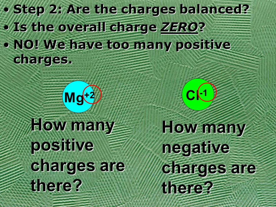 Step 2: Are the charges balanced? Is the overall charge ZERO? NO! We have too many positive charges. Step 2: Are the charges balanced? Is the overall