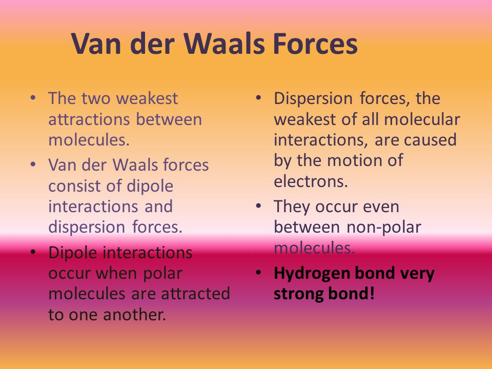 The two weakest attractions between molecules.