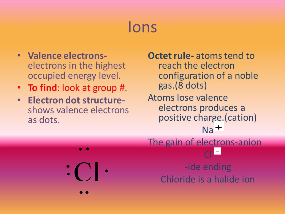 Ions Valence electrons- electrons in the highest occupied energy level.