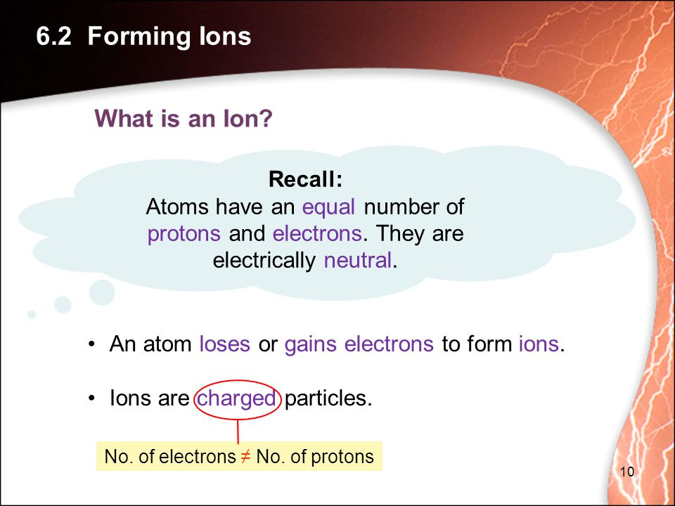 What is an Ion.Recall: Atoms have an equal number of protons and electrons.