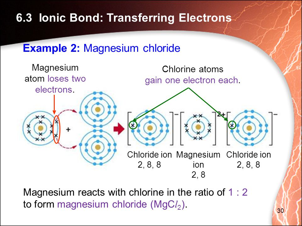 Chlorine atoms gain one electron each.