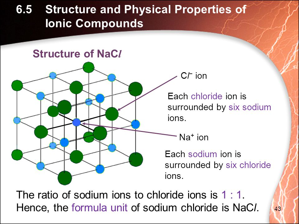43 Each sodium ion is surrounded by six chloride ions.