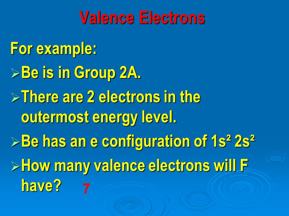 For example:  Be is in Group 2A.  There are 2 electrons in the outermost energy level.  Be has an e­ configuration of 1s² 2s²  How many valence el