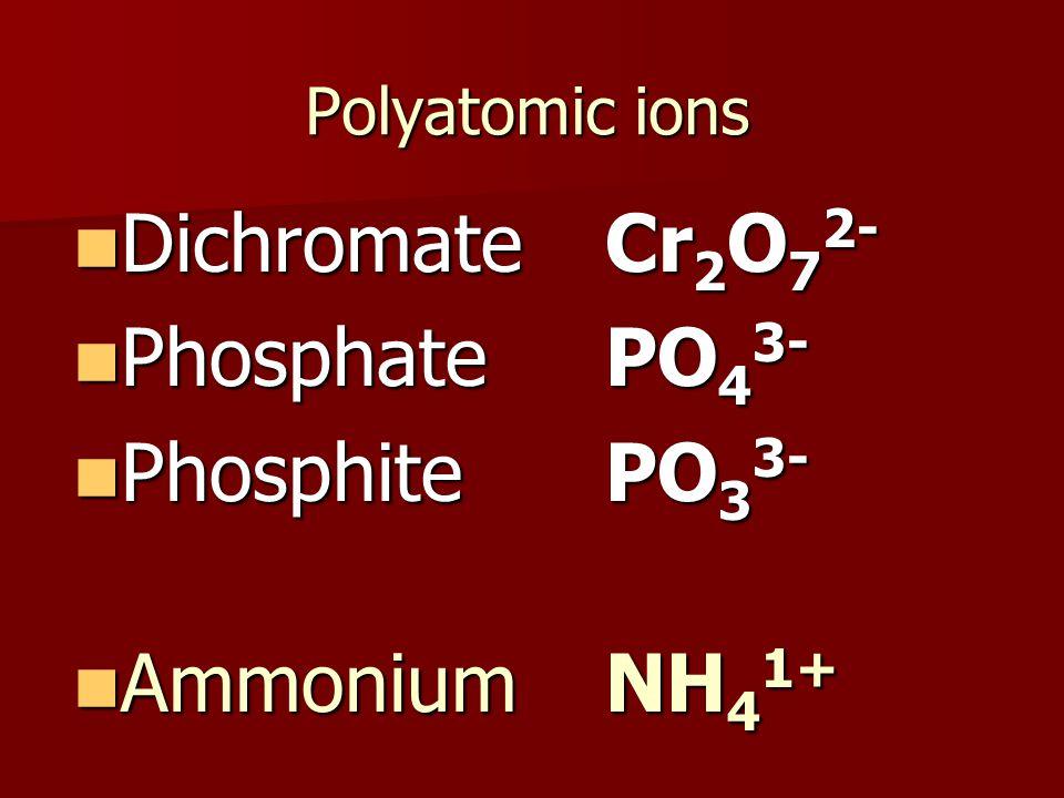 Polyatomic ions Dichromate Cr 2 O 7 2- Dichromate Cr 2 O 7 2- Phosphate PO 4 3- Phosphate PO 4 3- Phosphite PO 3 3- Phosphite PO 3 3- Ammonium NH 4 1+ Ammonium NH 4 1+