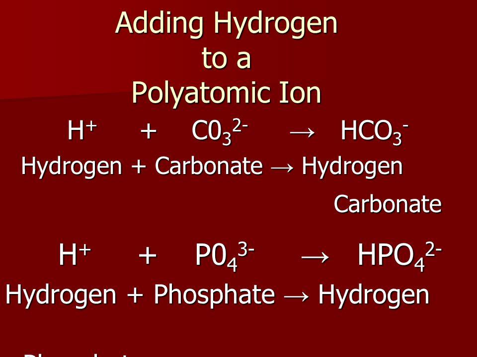 Adding Hydrogen to a Polyatomic Ion H + + C0 3 2- → HCO 3 - H + + C0 3 2- → HCO 3 - Hydrogen + Carbonate → Hydrogen Carbonate Carbonate H + + P0 4 3- → HPO 4 2- H + + P0 4 3- → HPO 4 2- Hydrogen + Phosphate → Hydrogen Phosphate Phosphate