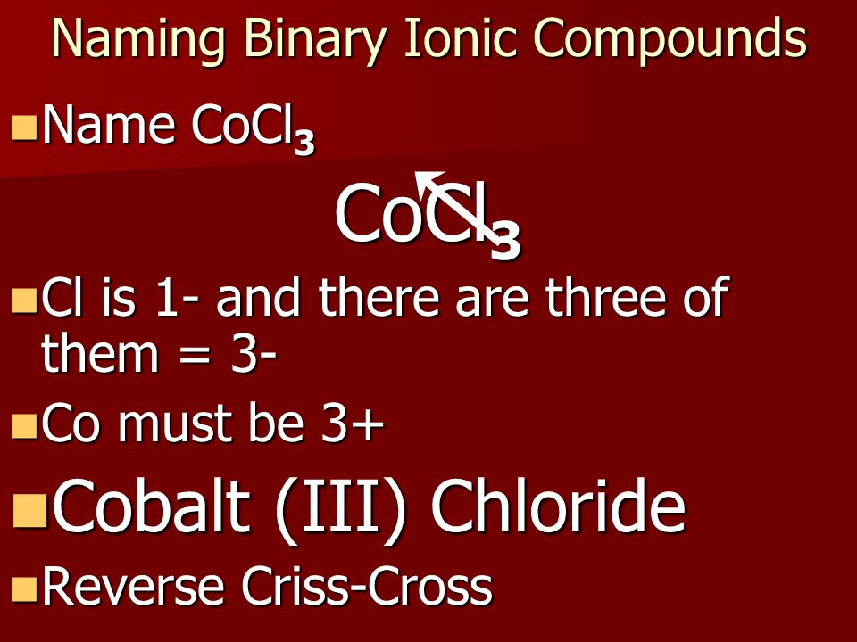 Naming Binary Ionic Compounds Write the name of Cu 2 S.
