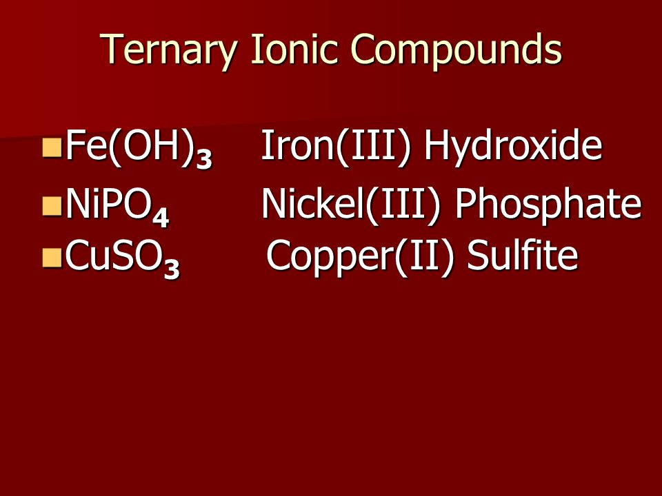 Ternary Ionic Compounds Fe(OH) 3 Fe(OH) 3 NiPO 4 NiPO 4 CuSO 3 CuSO 3 Iron(III) Hydroxide Nickel(III) Phosphate Copper(II) Sulfite