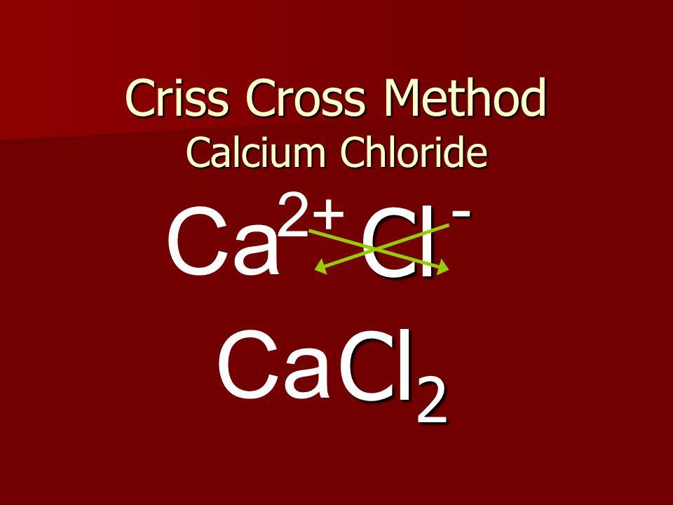 Criss Cross Method Calcium Chloride Cl Ca Cl 2 2+ -