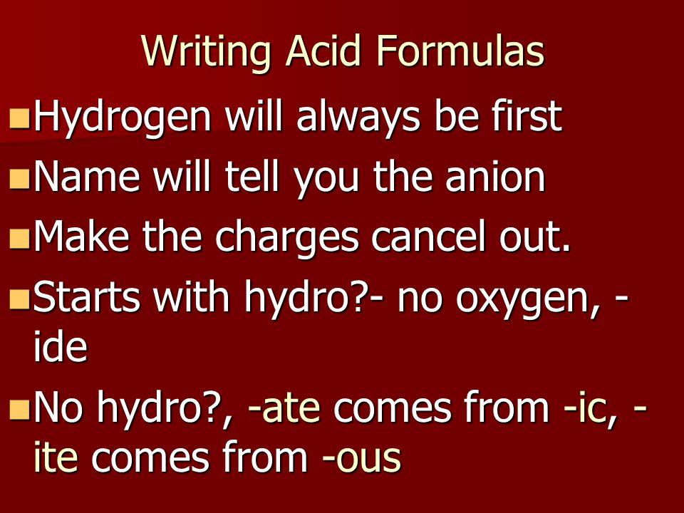 Writing Acid Formulas Hydrogen will always be first Hydrogen will always be first Name will tell you the anion Name will tell you the anion Make the c