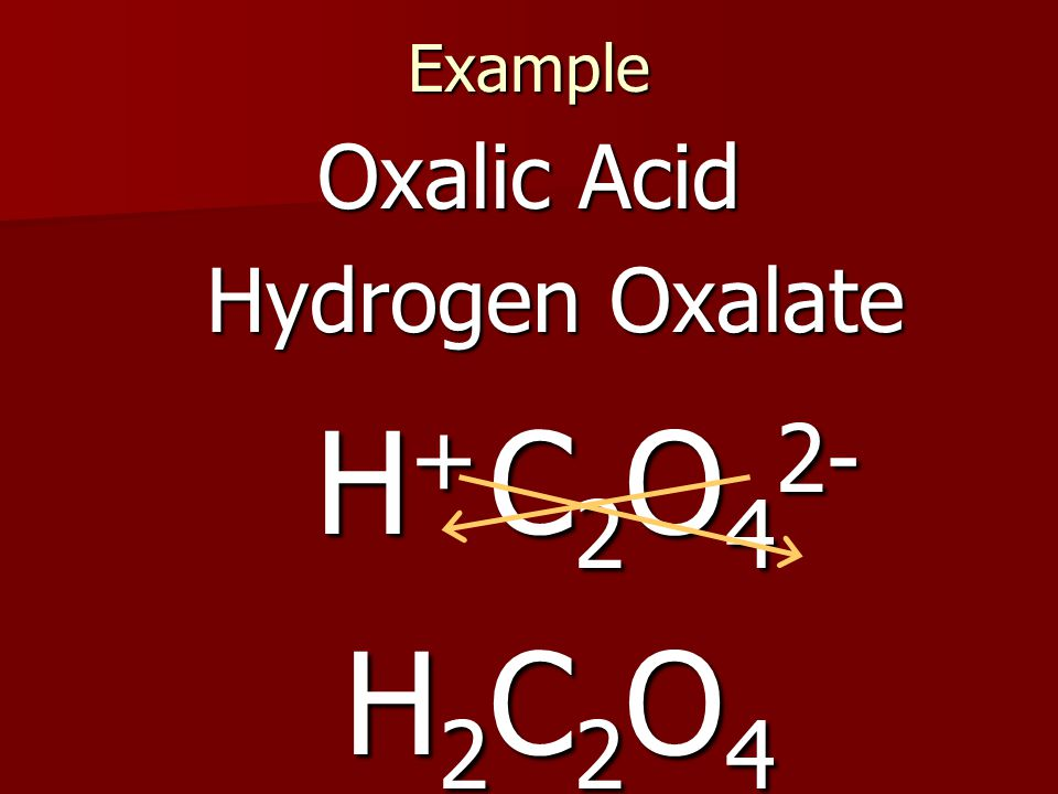 Example Oxalic Acid Hydrogen Oxalate C 2 O 4 2- H+H+H+H+ H2C2O4H2C2O4H2C2O4H2C2O4
