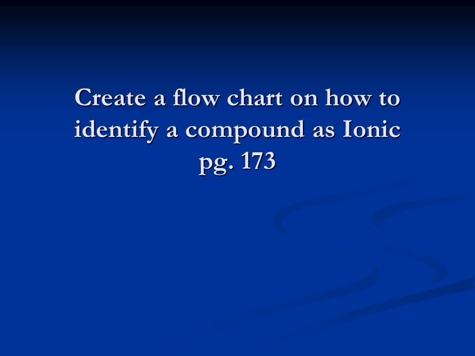 Create a flow chart on how to identify a compound as Ionic pg. 173