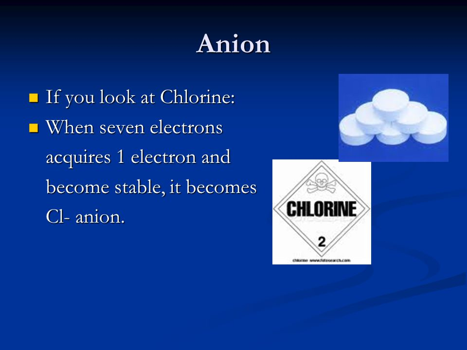 Force of attraction Chlorine: Cl- and sodium: Na+ create an ionic bond.