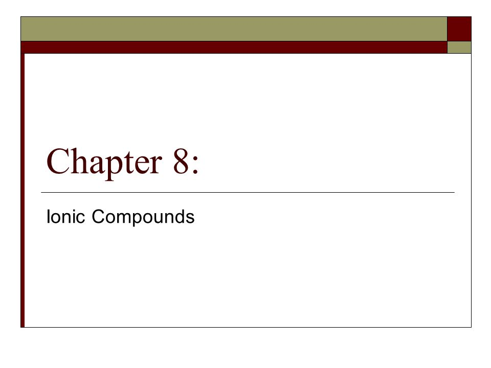 Chapter 8: Ionic Compounds