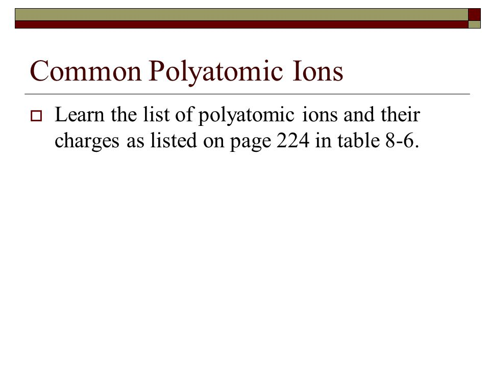 Common Polyatomic Ions  Learn the list of polyatomic ions and their charges as listed on page 224 in table 8-6.