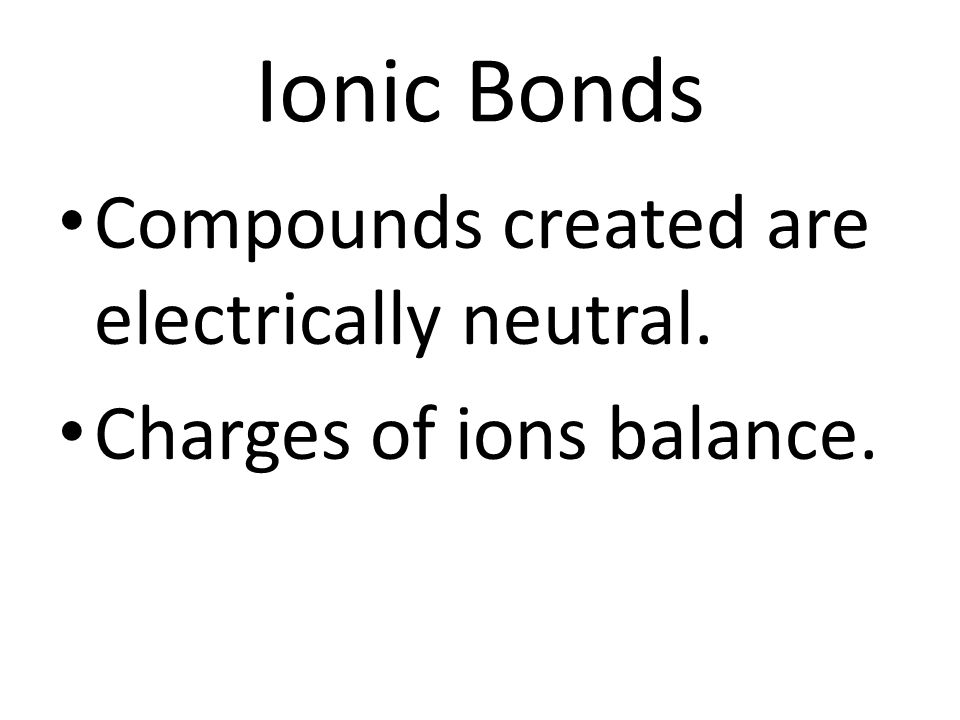 Naming Ionic Compounds Name of positively charged ion comes first, followed by the name of the negative ion.