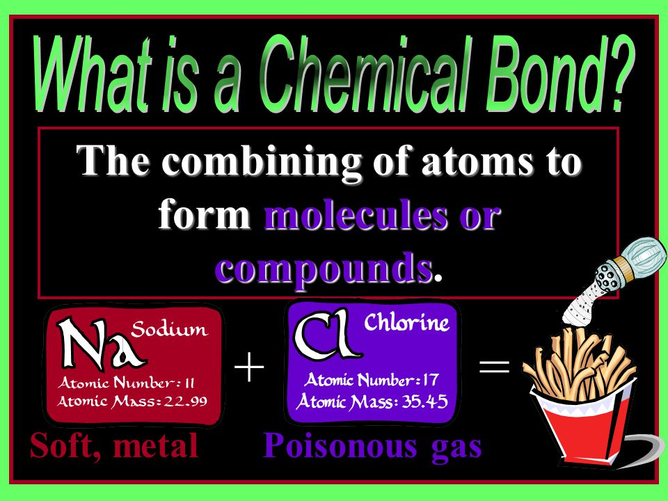 The combining of atoms to form molecules or compounds The combining of atoms to form molecules or compounds.