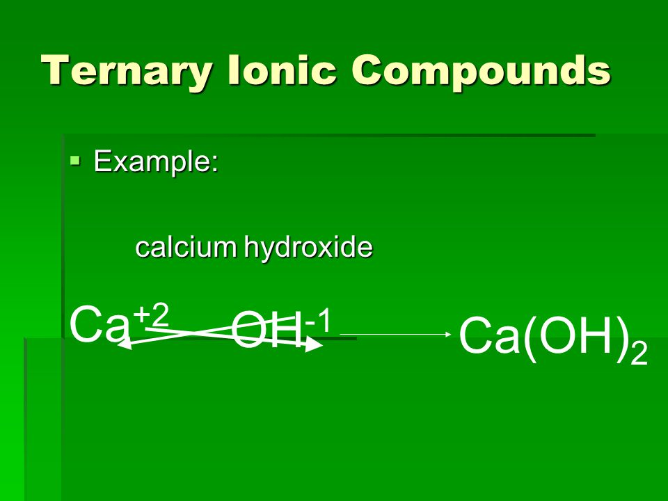 Ternary Ionic Compounds  Example: calcium hydroxide Ca +2 OH -1 Ca(OH) 2