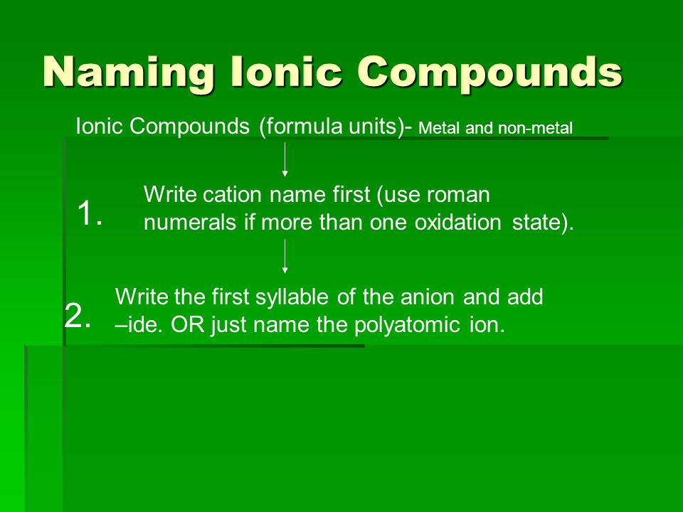Naming Ionic Compounds Ionic Compounds (formula units)- Metal and non-metal Write cation name first (use roman numerals if more than one oxidation state).