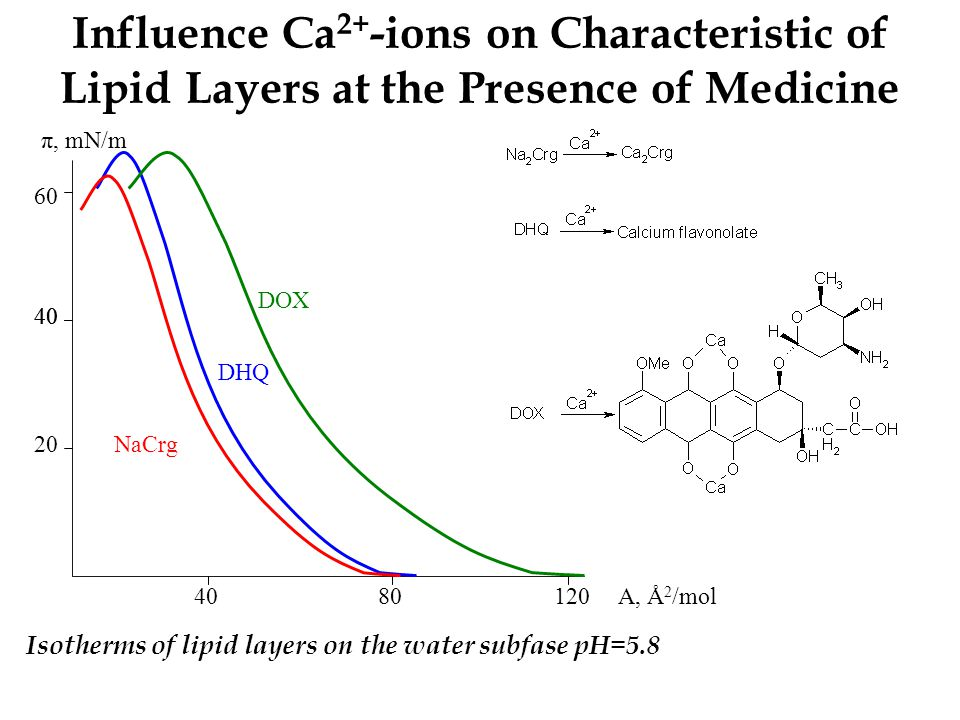 Influence Ca 2+ -ions on Characteristic of Lipid Layers at the Presence of Medicine 20 40 π, mN/m 1204040 60 40 8080 DOX NaCrg DHQ Isotherms of lipid layers on the water subfase pH=5.8 A, Å 2 /mol