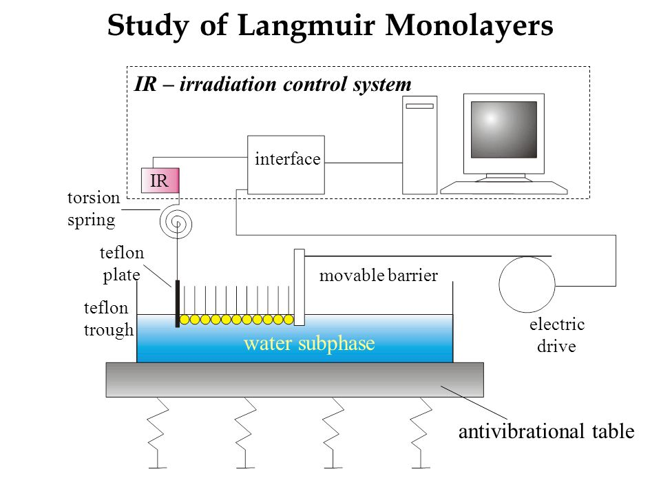 Study of Langmuir Monolayers IR – irradiation control system water subphase antivibrational table teflon trough electric drive teflon plate torsion sp