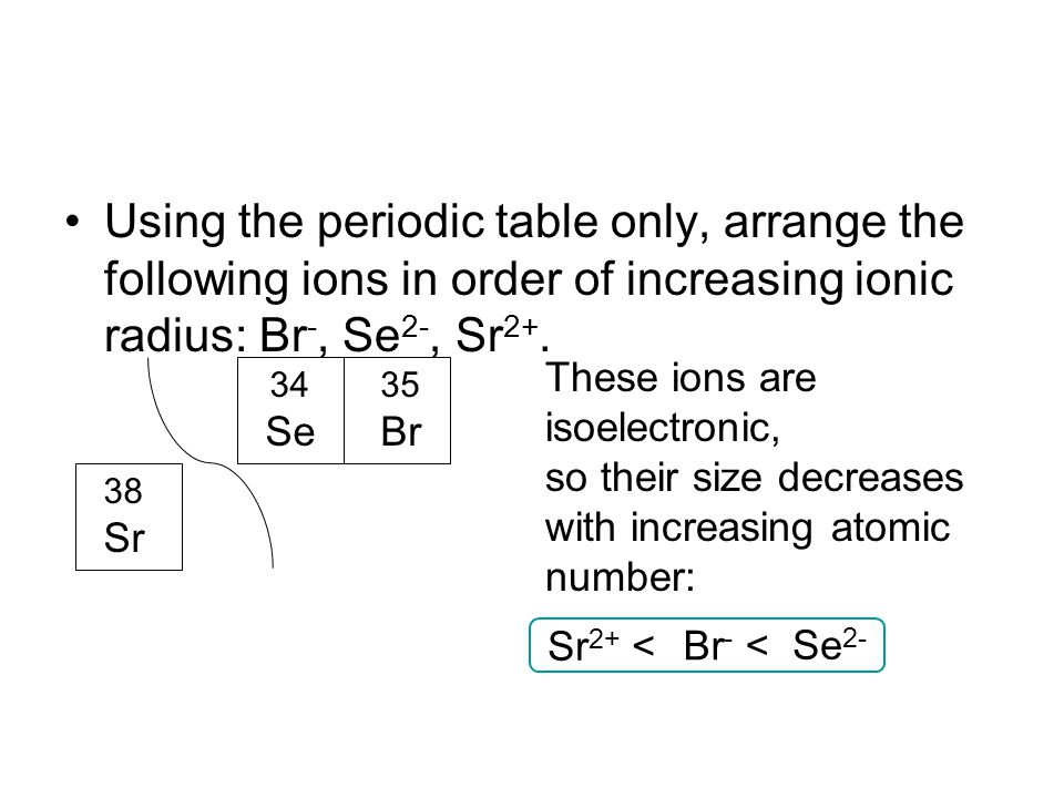 Using the periodic table only, arrange the following ions in order of increasing ionic radius: Br -, Se 2-, Sr 2+. 35 Br 34 Se 38 Sr These ions are is
