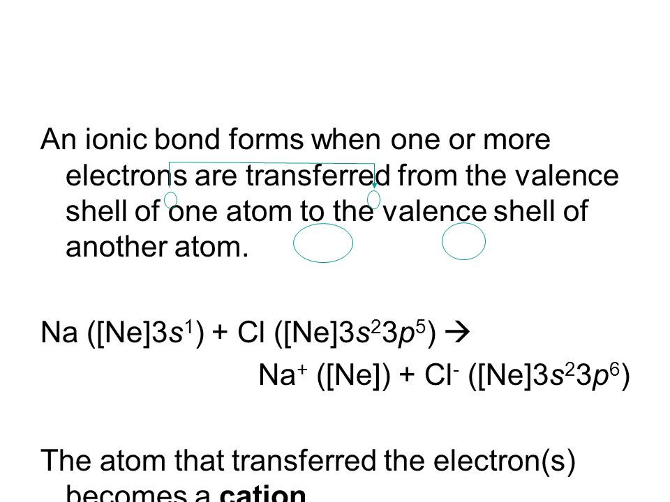An ionic bond forms when one or more electrons are transferred from the valence shell of one atom to the valence shell of another atom. Na ([Ne]3s 1 )