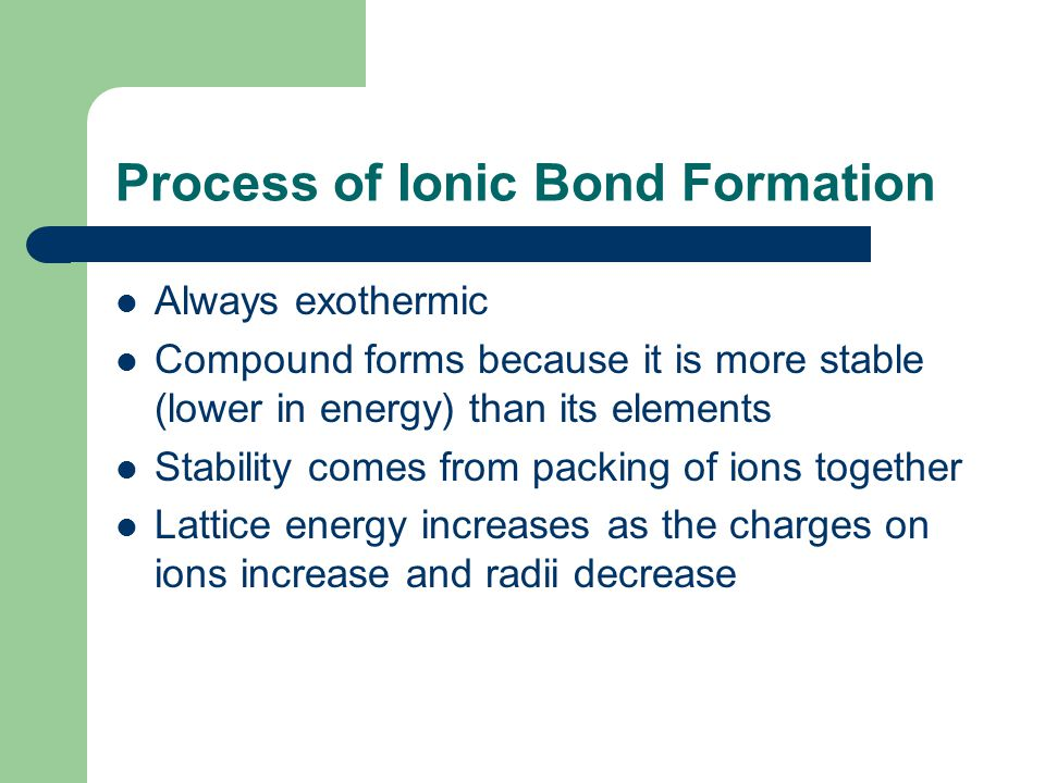 Process of Ionic Bond Formation Always exothermic Compound forms because it is more stable (lower in energy) than its elements Stability comes from pa
