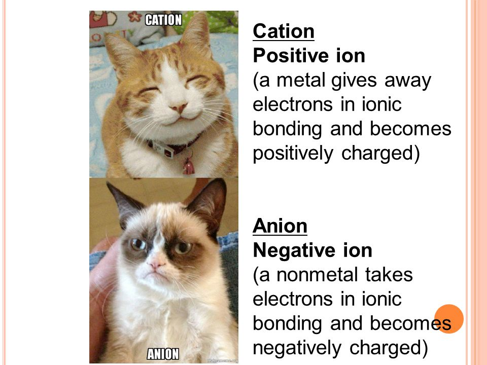 Cation Positive ion (a metal gives away electrons in ionic bonding and becomes positively charged) Anion Negative ion (a nonmetal takes electrons in ionic bonding and becomes negatively charged)