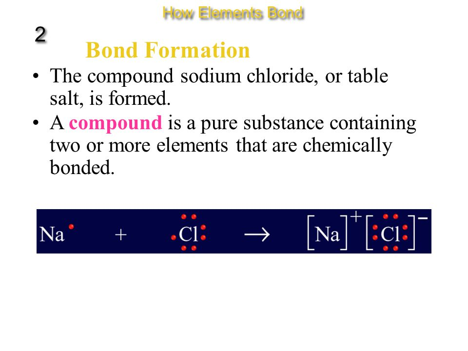 Bond Formation The compound sodium chloride, or table salt, is formed.