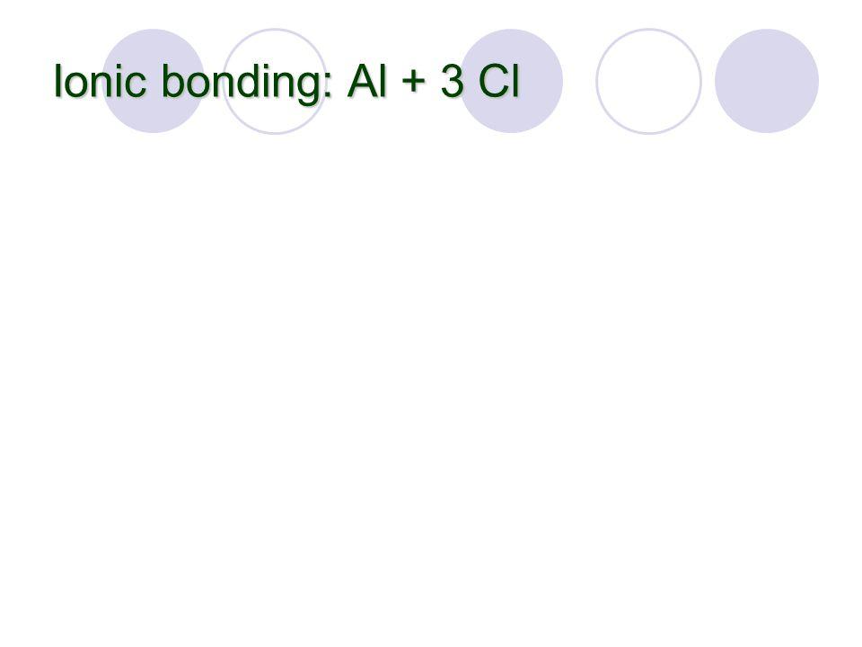 Ionic bonding: Al + 3 Cl