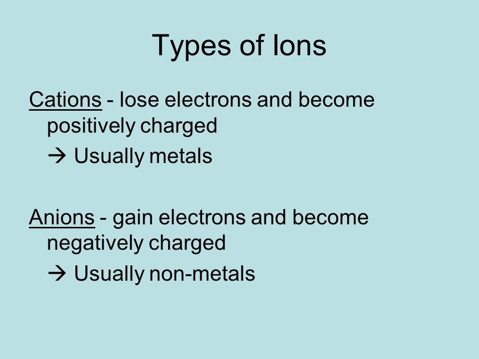 Types of Ions Cations - lose electrons and become positively charged  Usually metals Anions - gain electrons and become negatively charged  Usually