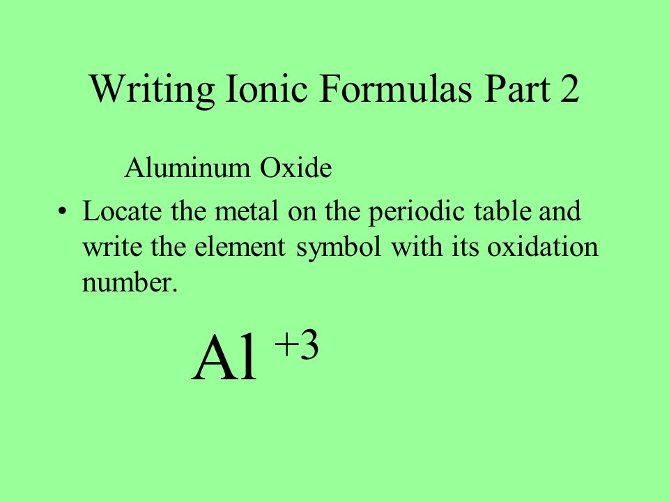Writing Ionic Formulas Part 2 Aluminum Oxide Locate the metal on the periodic table and write the element symbol with its oxidation number.