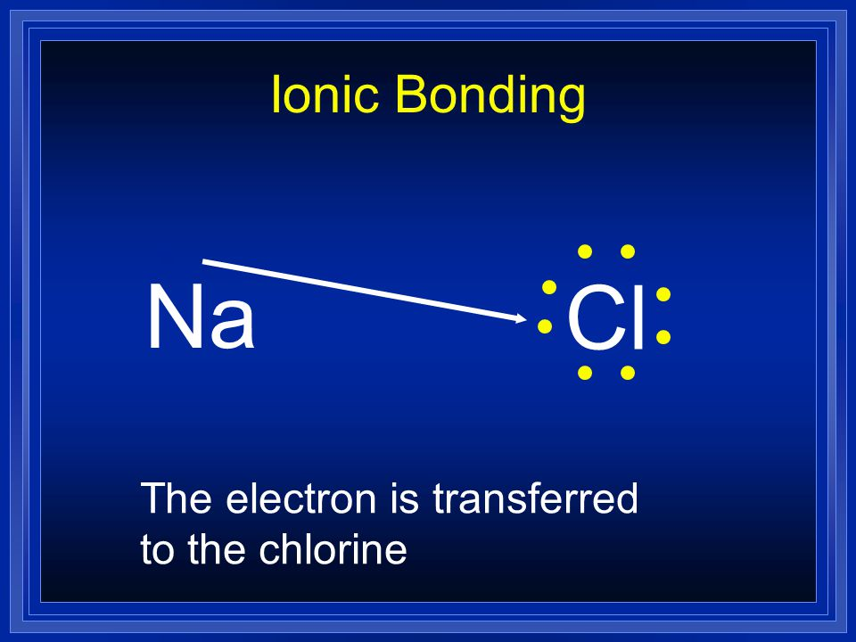 Ionic Bonding Na Cl The electron is transferred to the chlorine