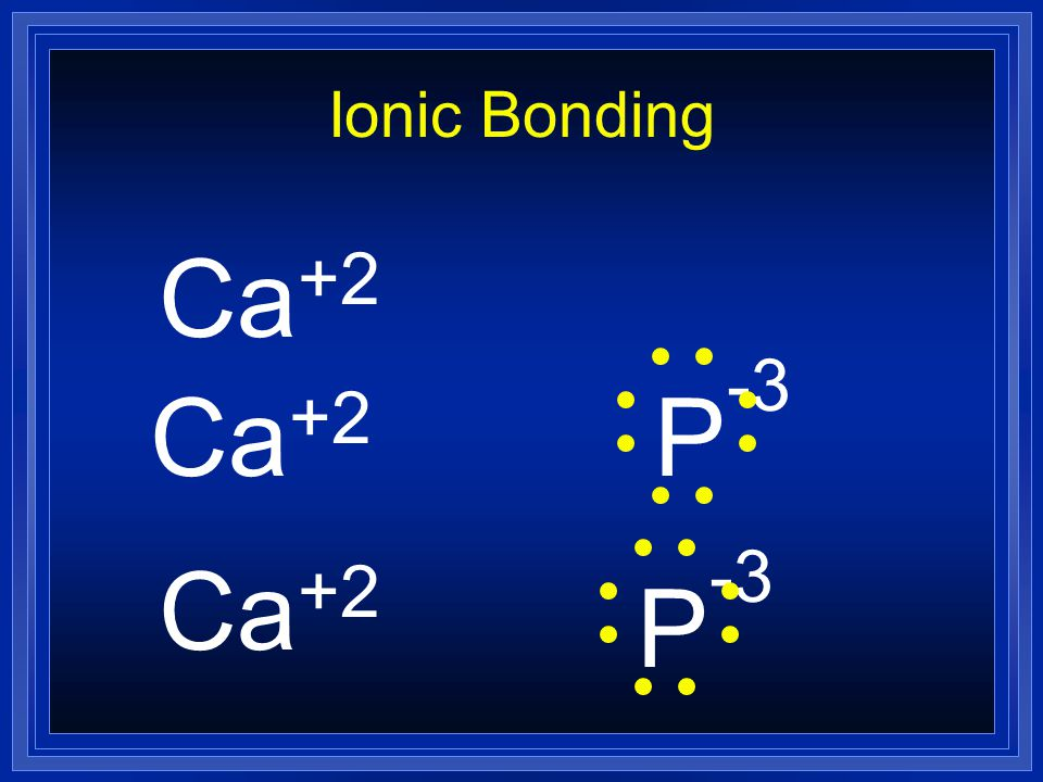 Ionic Bonding Ca +2 P -3 Ca +2 P -3 Ca +2