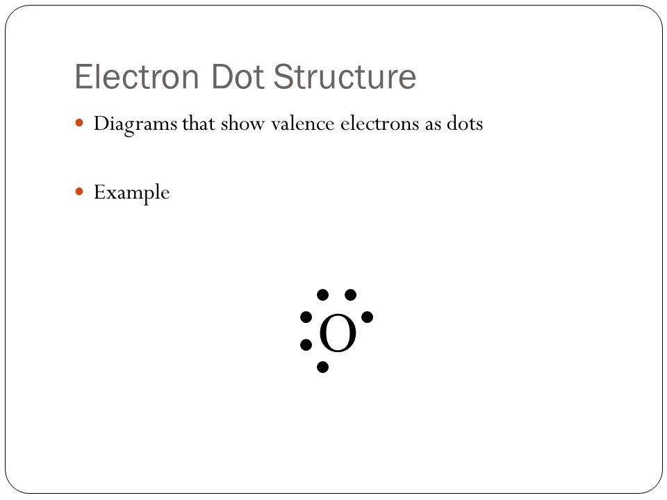 Electron Dot Structure Diagrams that show valence electrons as dots Example O