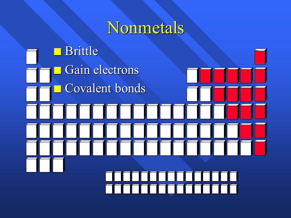 Nonmetals n Brittle n Gain electrons n Covalent bonds
