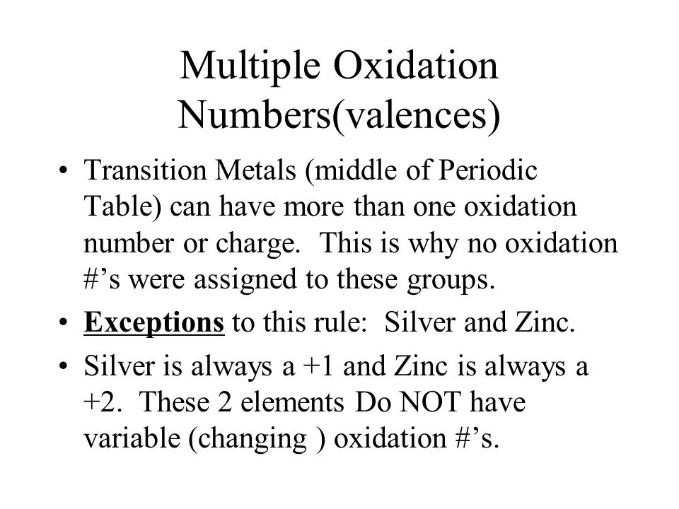 Multiple Oxidation Numbers(valences) Transition Metals (middle of Periodic Table) can have more than one oxidation number or charge.
