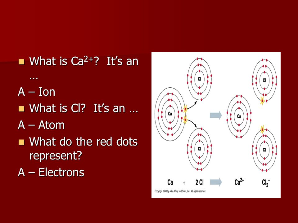What is Ca 2+ ? It's an … What is Ca 2+ ? It's an … A – Ion What is Cl? It's an … What is Cl? It's an … A – Atom What do the red dots represent? What