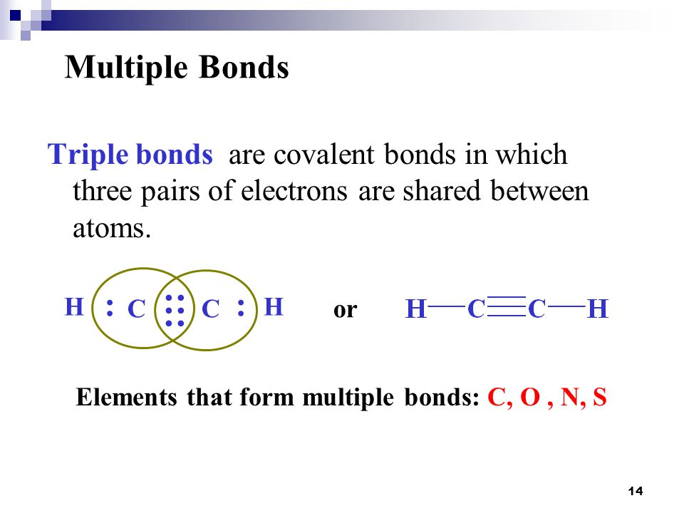 14 Triple bonds are covalent bonds in which three pairs of electrons are shared between atoms. Multiple Bonds CCor HH :: ::: Elements that form multip