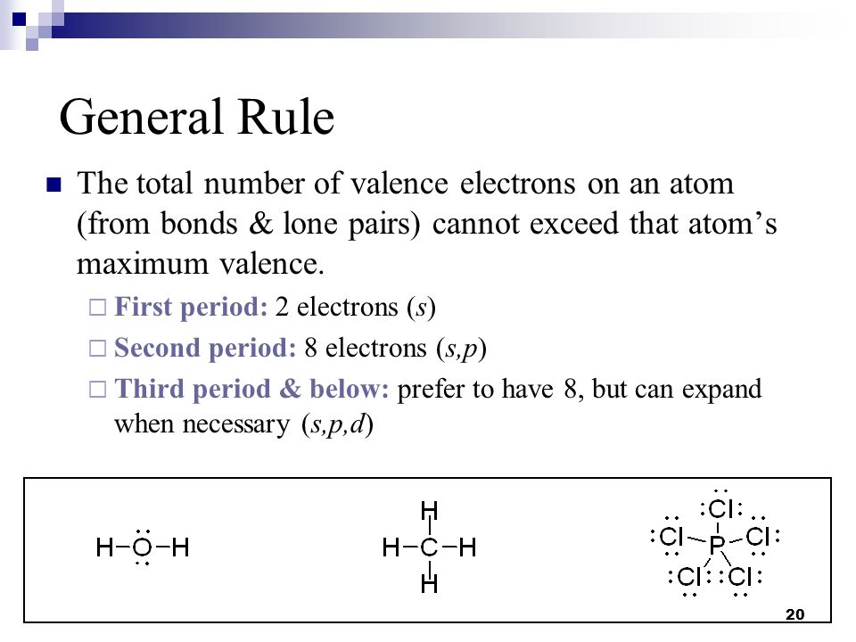 20 The total number of valence electrons on an atom (from bonds & lone pairs) cannot exceed that atom's maximum valence.  First period: 2 electrons (