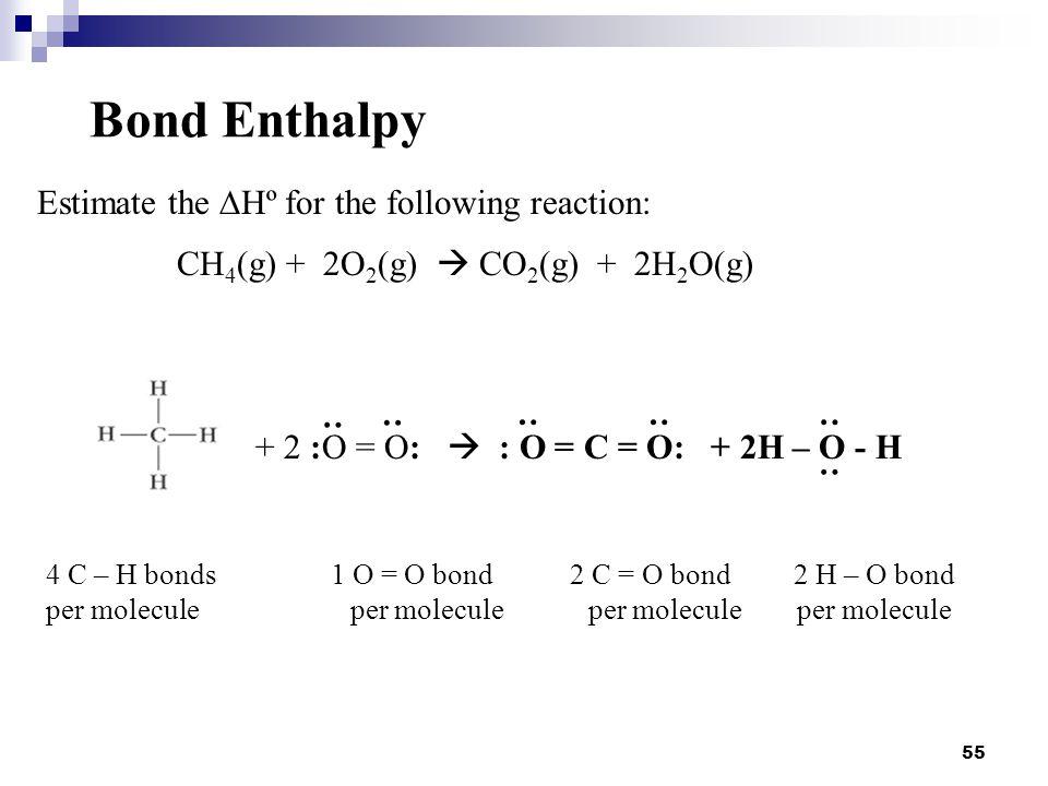 55 Bond Enthalpy Estimate the  Hº for the following reaction: CH 4 (g) + 2O 2 (g)  CO 2 (g) + 2H 2 O(g) + 2 :O = O:  : O = C = O: + 2H – O - H : :