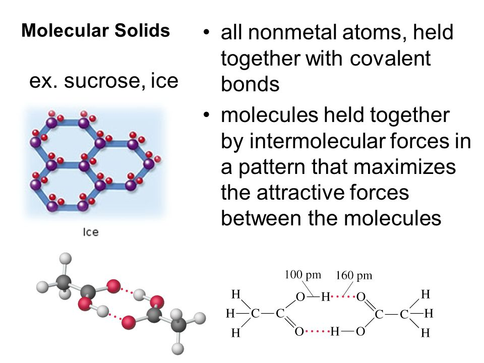 Molecular Solids all nonmetal atoms, held together with covalent bonds molecules held together by intermolecular forces in a pattern that maximizes the attractive forces between the molecules ex.