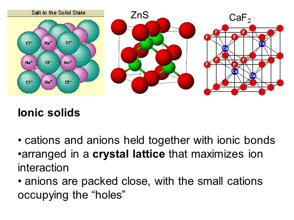 CaF 2 Ionic solids cations and anions held together with ionic bonds arranged in a crystal lattice that maximizes ion interaction anions are packed close, with the small cations occupying the holes ZnS