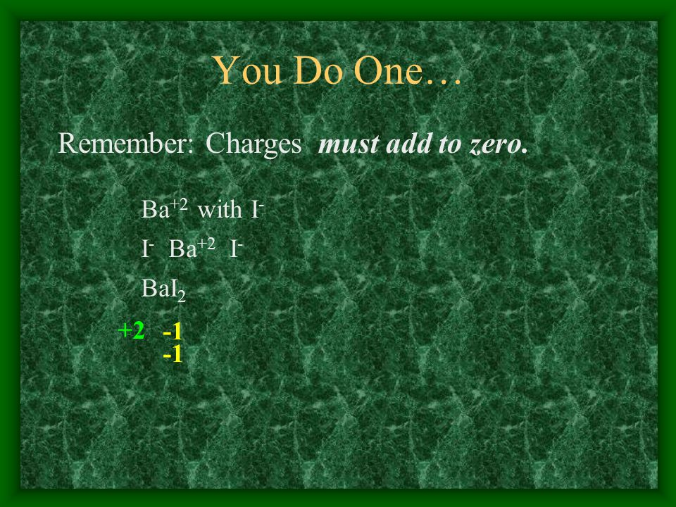 You Do One… Remember: Charges must add to zero. Ba +2 with I - I - Ba +2 I - BaI 2 +2