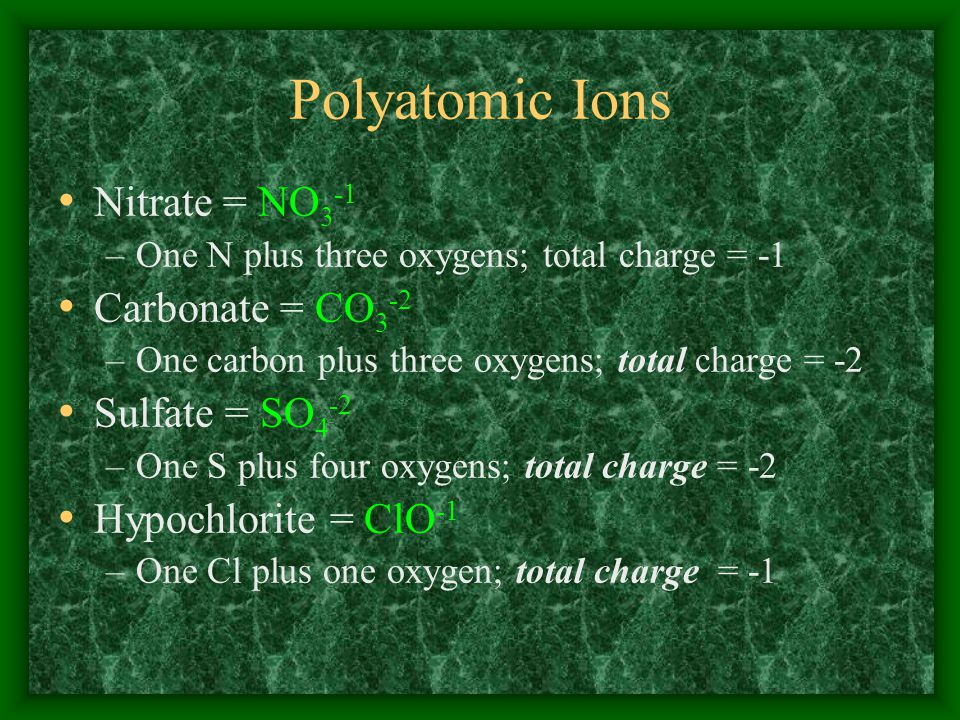 Polyatomic Ions Nitrate = NO 3 -1 –One N plus three oxygens; total charge = -1 Carbonate = CO 3 -2 –One carbon plus three oxygens; total charge = -2 Sulfate = SO 4 -2 –One S plus four oxygens; total charge = -2 Hypochlorite = ClO -1 –One Cl plus one oxygen; total charge = -1
