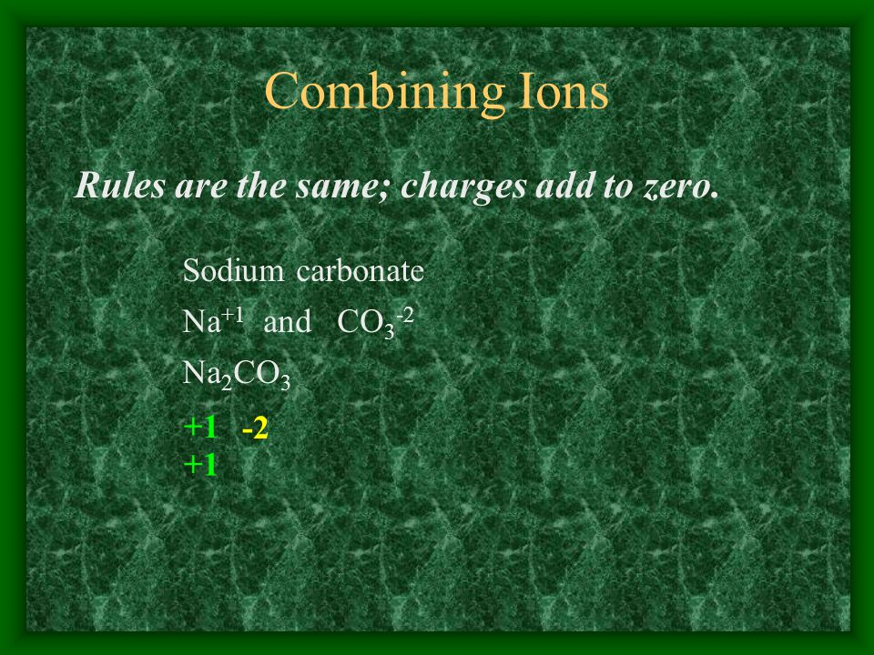 Combining Ions Rules are the same; charges add to zero.