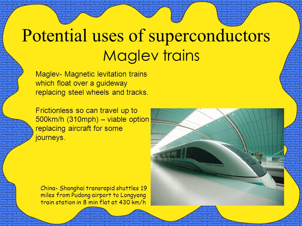 Potential uses of superconductors Maglev trains Maglev- Magnetic levitation trains which float over a guideway replacing steel wheels and tracks.